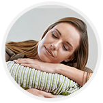 Sleep woman with head resting on arm
